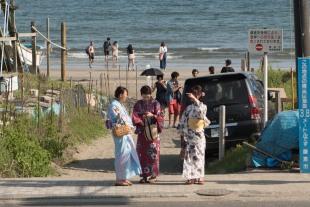 Na praia de Kamakura