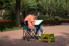 Chinesinho em aulda de senho no parque